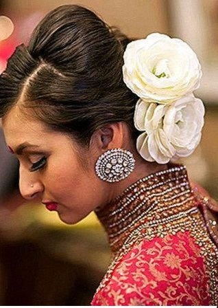 Beehive Floral Chignon Look Hair Style