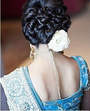 Braided Chignon Hair With Vintage Curls For Wedding Reception